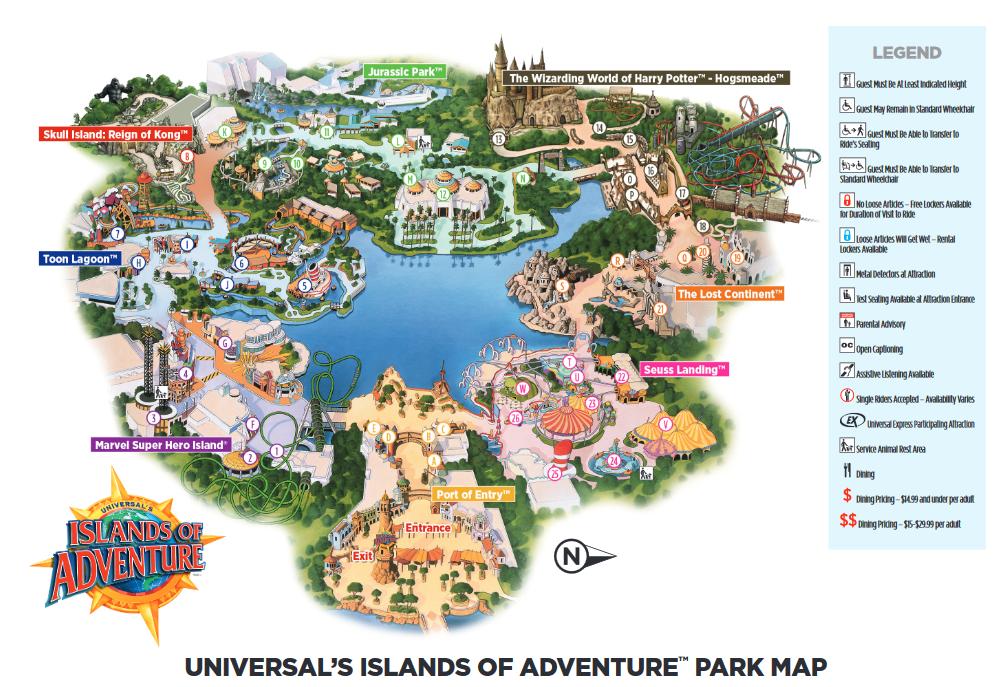 Universal Studios Islands Of Adventure Florida Park Map