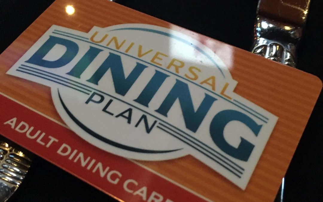 Adult Dining Plan card for Universal Studios